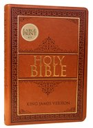 KJV Large Print Thinline Bible Tan Red Letter Edition Imitation Leather