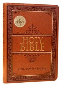 KJV Large Print Thinline Bible Tan Red Letter Edition