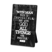 Black Block Print Metal Plaque: All Things Are Possible