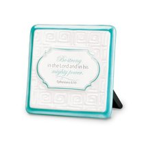 Pattern of Praise Ceramic Plaque: Be Strong in the Lord (Turquoise)