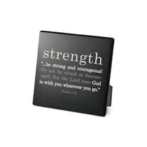 Simple Faith Plaque: Strength, Joshua 1:9 (Black/white)