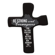 Squeezable Palm Cross: Be Strong & Courageous (Black)