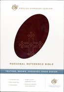 ESV Personal Reference Trutone Brown Engraved Cross Design Imitation Leather