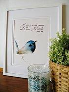 Medium Framed Print: Watercolour Bird - His Eye Is on the Sparrow