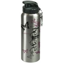 Water Bottle 750ml Stainless Steel: Believe Butterfly Silver (Hand Wash Only)