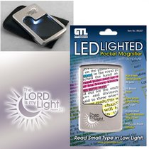 Led Lighted Pocket Magnifier: The Lord is My Light Psalm 27:1 With Pouch