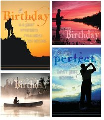 Boxed Cards Christian Art Greetings: Birthday Grand Adventures (4 Designs - 12 Assorted Cards With Kjv Scripture)