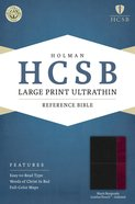 HCSB Large Print Ultrathin Reference Indexed Bible Black/Burgundy Premium Imitation Leather