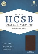 HCSB Large Print Ultrathin Reference Bible Brown Genuine Cowhide Genuine Leather