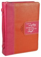 Bible Cover Pink/Orange - Large Phil 4:13 Luxleather