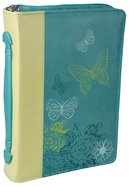 Bible Cover Lime/Dusty Blue Butterflies Large Luxleather