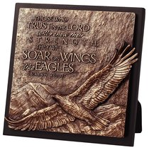 Moments of Faith Sculpture Plaque: Eagle on Perch (Square)