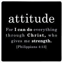Simple Faith Magnet: Attitudue, Phil 4:13 (Black/white)