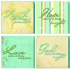 Set of 4 Treasured Wall Plaques: Faith, Hope, Love & God Plaque