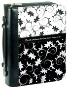 Bible Cover Black/White Vines Large - Psalm 46:10 Microfibre