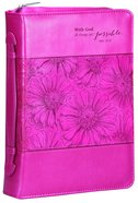 Bible Cover With God All Things Are Possible Pink (Large)