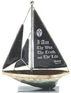 Sailboat Metal: I Am the Way.. John 14:6 (Black) Homeware
