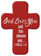 Squeezable Pocket Cross With Card: God Love You (Red) Homeware