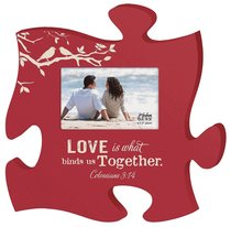 Puzzle Pieces Wall Art: Love - Colossians 3:14 (Holds 4x6 Photo)