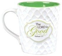 Pattern of Praise Ceramic Mug: The Lord is Good (White/green)