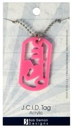 Acrylic Tag: Heart & Key Pink (75cm Stainless Steel Ball Chain) Jewellery