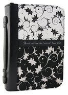 Bible Cover Black/White Vines Medium - Psalm 46: 10 Luxleather Imitation Leather