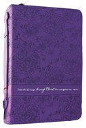 Bible Cover Fashion Trendy Medium: I Can Do All Things Phil 4:13 Purple Imitation Leather