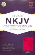 NKJV Large Print Personal Size Reference Bible Pink Premium Imitation Leather