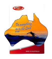 Christian Australia Map Shaped Resin Fridge Magnet: Surfer/Col 3:23
