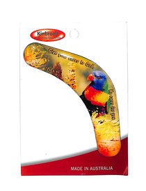 Christian Boomerang Shaped Resin Fridge Magnet: Lorikeet/He Cares/1 Pet 5:7