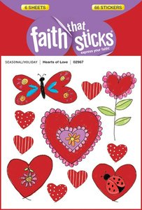 Hearts of Love (6 Sheets, 66 Stickers) (Stickers Faith That Sticks Series)