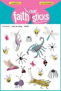 Cute as a Bug (6 Sheets, 114 Stickers) (Stickers Faith That Sticks Series)