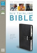 NIV Thinline Buckle Closure Bible Black (Red Letter Edition) Imitation Leather