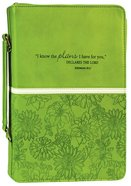 Bible Cover I Know the Plans Large: Jeremiah 29:11, Lime Luxleather
