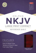 NKJV Large Print Compact Reference Bible Classic Mahogany Leathertouch Premium Imitation Leather