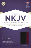 NKJV Large Print Personal Size Reference Bible, Black/Burgundy Leathertouch Premium Imitation Leather