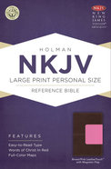 NKJV Large Print Personal Size Reference Bible, Brown/Pink Leathertouch With Magnetic Flap Premium Imitation Leather