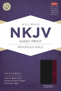 NKJV Giant Print Reference Bible, Black/Burgundy Leathertouch Premium Imitation Leather