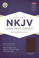 NKJV Large Print Compact Reference Bible Brown Genuine Cowhide Genuine Leather