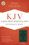 KJV Large Print Personal Size Reference Bible, Green Leathertouch Premium Imitation Leather