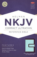 NKJV Compact Ultrathin Reference Bible With Magnetic Flap, Brown/Blue Leathertouch Premium Imitation Leather
