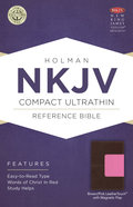 NKJV Compact Ultrathin Reference Bible With Magnetic Flap, Pink/Brown Leathertouch Premium Imitation Leather