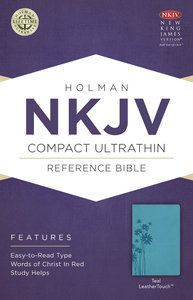 NKJV Compact Ultrathin Reference Bible Teal Leathertouch