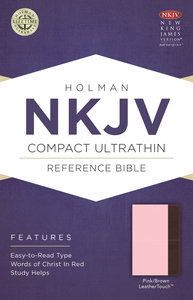 NKJV Compact Ultrathin Reference Bible Pink/Brown Leathertouch