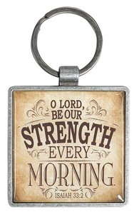 Metal Keyring: Finishing Strong: O Lord Be Our Strength (Beige/tan)