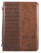 Bible Cover Classic Large: Trust Prov 3:5, Brown Luxleather