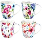 Ceramic Mugs: Seeds of Love (Purple/Flowers) (Set Of 4) Homeware