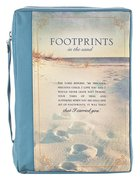 Bible Cover Polyester Large: Footprints in the Sand, Navy/Picture