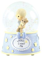 Precious Moments Figurine: Baby Boy With Teddy, Jesus Loves Me Musical Water Globe Homeware