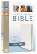 NIV Thinline Zippered Bible White (Red Letter Edition) Bonded Leather